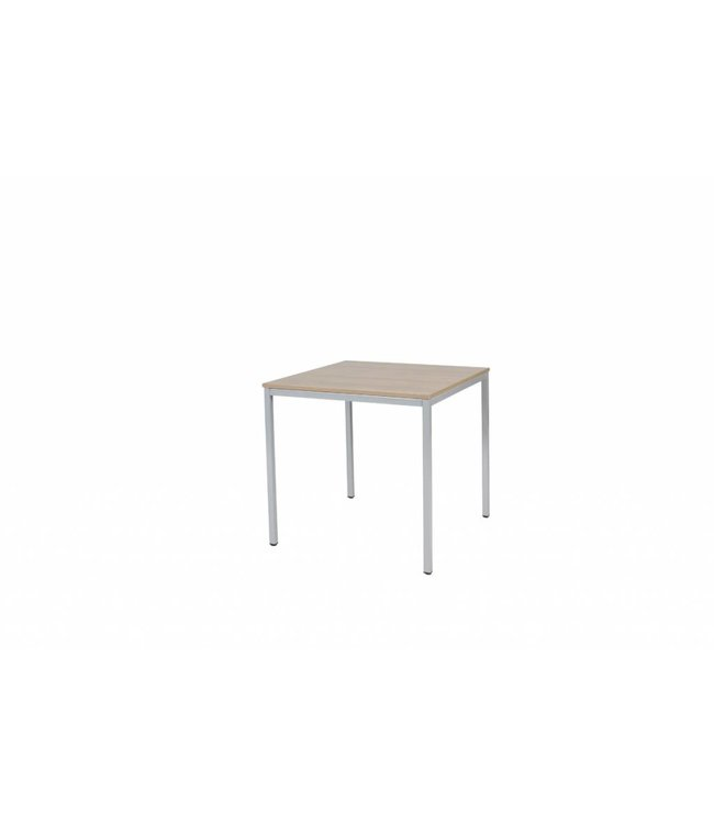 BEUK Bureautafel - Donker Grijs Hout - Alu Frame - 80x80