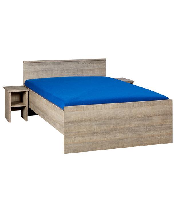 BEUK Bedframe 140X200 cm - Incl. Middenbalk - Donker Grijs Hout - Bavel