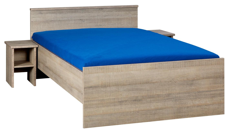 BEUK Bedframe 140X210 cm - Incl. Middenbalk - Donker Grijs Hout - Bavel