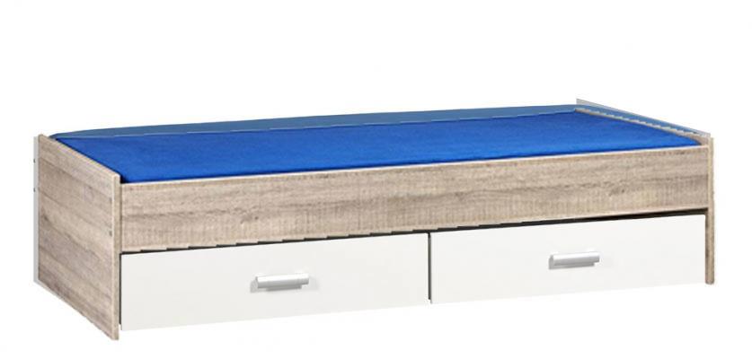 BEUK Bed met opbergruimte | 90x200 | Donker Grijs Hout | Inclusief witte lades |  2 stuks 90cm diep