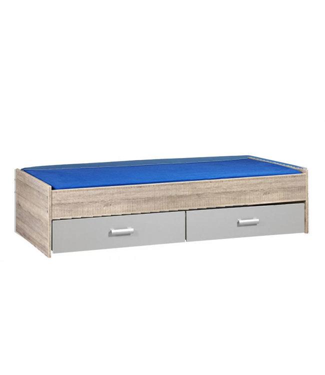 BEUK Bed met opbergruimte | 90x200 | Donker Grijs Hout | Inclusief aluminium lades |  2 stuks 90cm diep