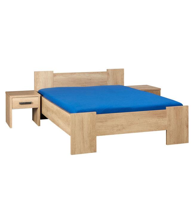 BEUK Bedframe 160x200 cm - Incl Middenbalk - Nebreska Eiken - Wouw