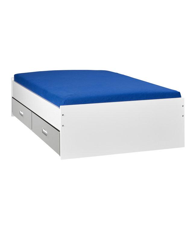 BEUK Bed met opbergruimte | 140x200 | Wit | Inclusief aluminium lades | 4 stuks 60cm diep