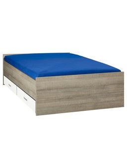 BEUK Bed met opbergruimte | 140x200 | Donker Grijs Hout | Inclusief witte lades | 4 stuks 60cm diep