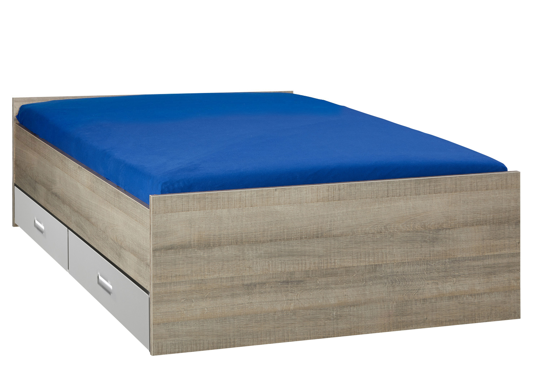 BEUK Bed met opbergruimte | 160x200 | Donker Grijs Hout | Inclusief aluminium lades | 4 stuks 60cm diep