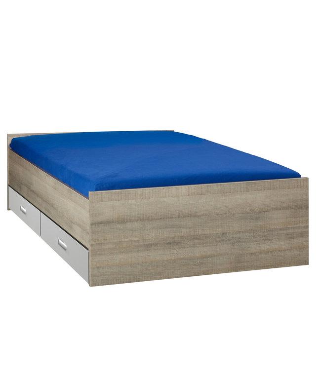 BEUK Bed met opbergruimte | 140x200 | Donker Grijs Hout | Inclusief aluminium lades | 4 stuks 60cm diep