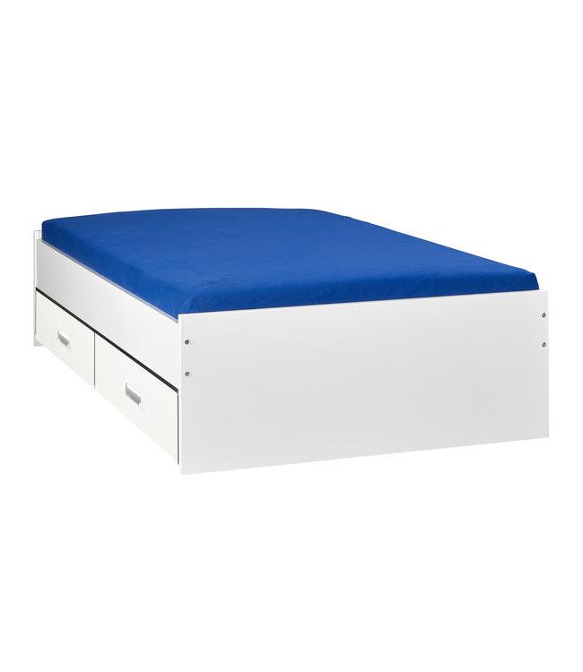 BEUK Bed met opbergruimte   140x200   Wit   Inclusief witte lades   4 stuks 60cm diep