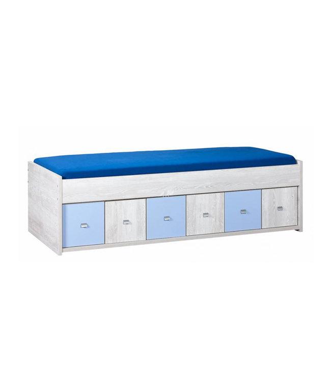 BEUK Bed met opberg 90 X 200 cm - Mix Licht Grijs Hout – Son