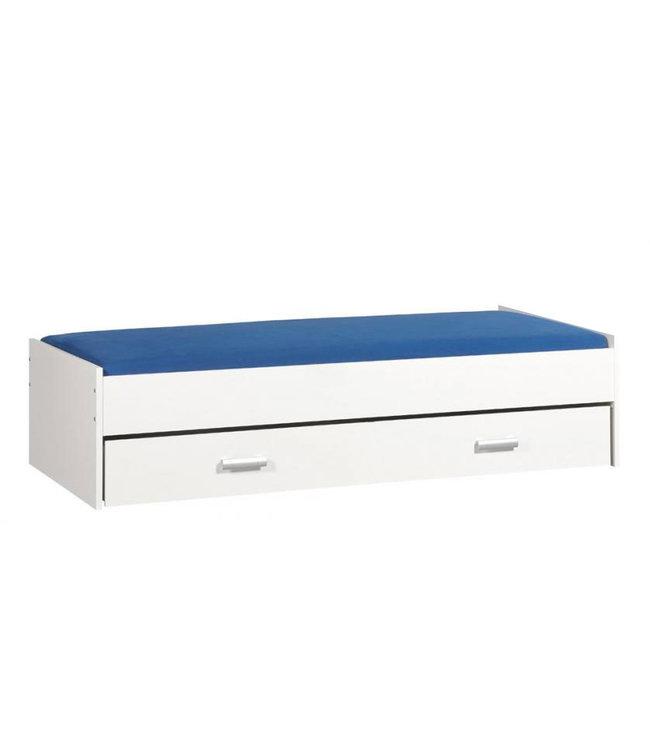 BEUK Bed met opbergruimte | 90x200 | Wit | Inclusief witte lade (196x83CM)