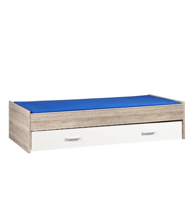 BEUK Bed met opbergruimte | 90x200 | Donkergrijs Hout | Inclusief witte lade (196x83CM)