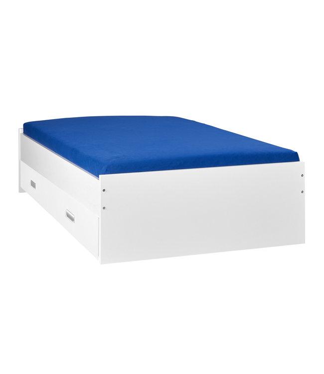 BEUK Bed met opbergruimte | 120x200 | Wit | Inclusief witte lade (196x83CM)