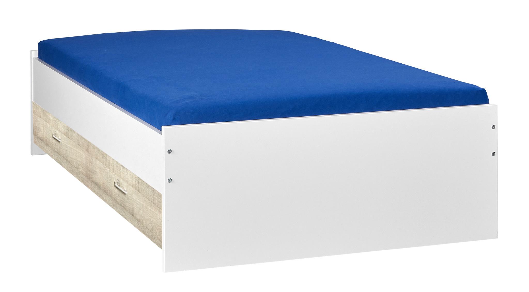 BEUK Bed met opbergruimte | 120x200 | Wit | Inclusief donkergrijze houten lade (196x83CM)