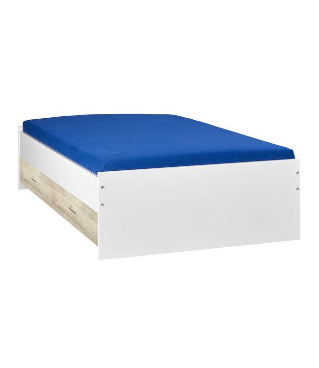 BEUK Bed met opbergruimte | 160x200 | Wit | Inclusief donkergrijze houten lade (196x83CM)