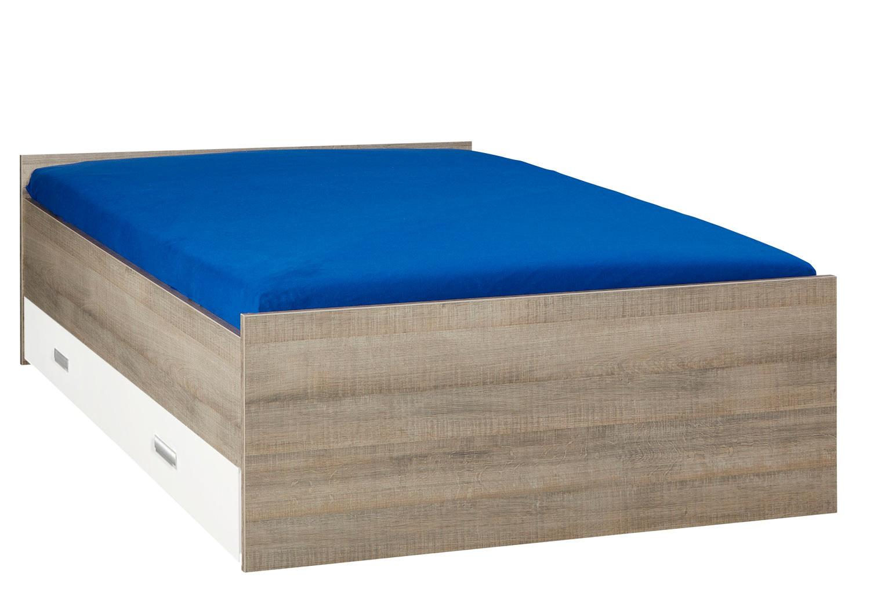 BEUK Bed met opbergruimte | 120x200 | Donkergrijs Hout | Inclusief witte lade (196x83CM)