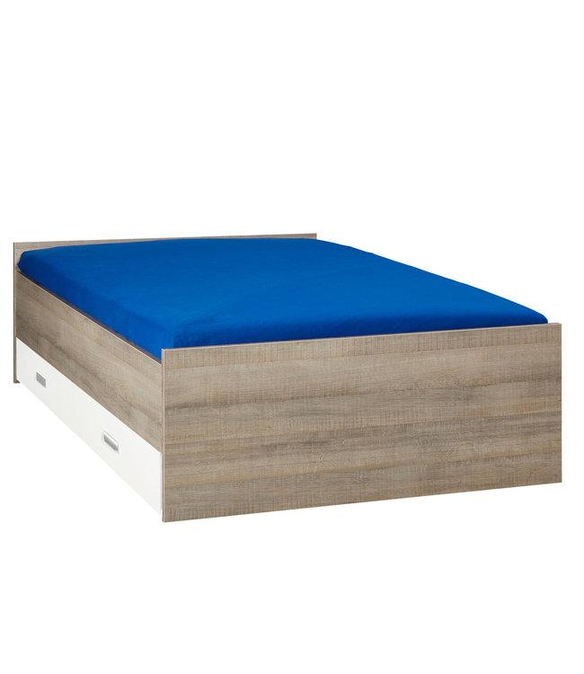 BEUK Bed met opbergruimte | 140x200 | Donkergrijs Hout | Inclusief witte lade (196x83CM)
