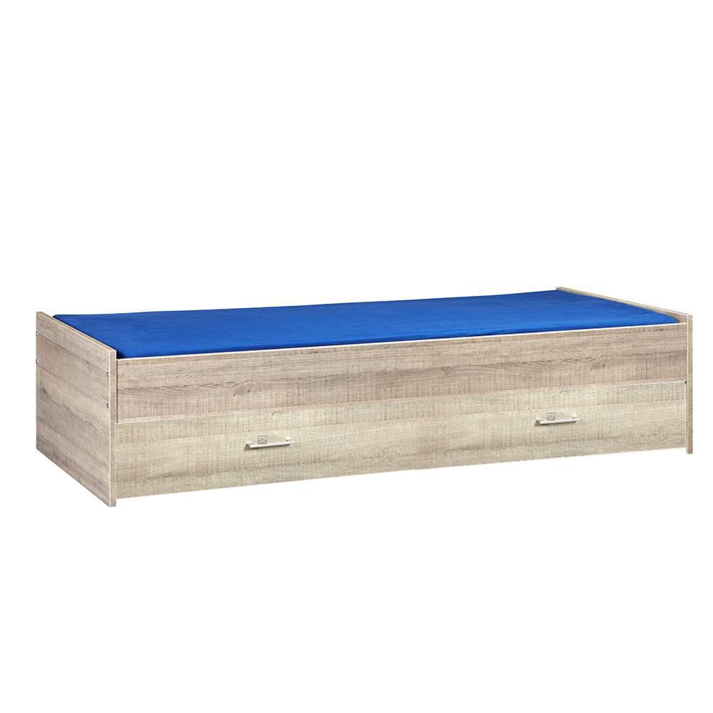 BEUK Bed met opbergruimte | 90x200 | Donkergrijs Hout | Inclusief donkergrijze houten lade (196x83CM)