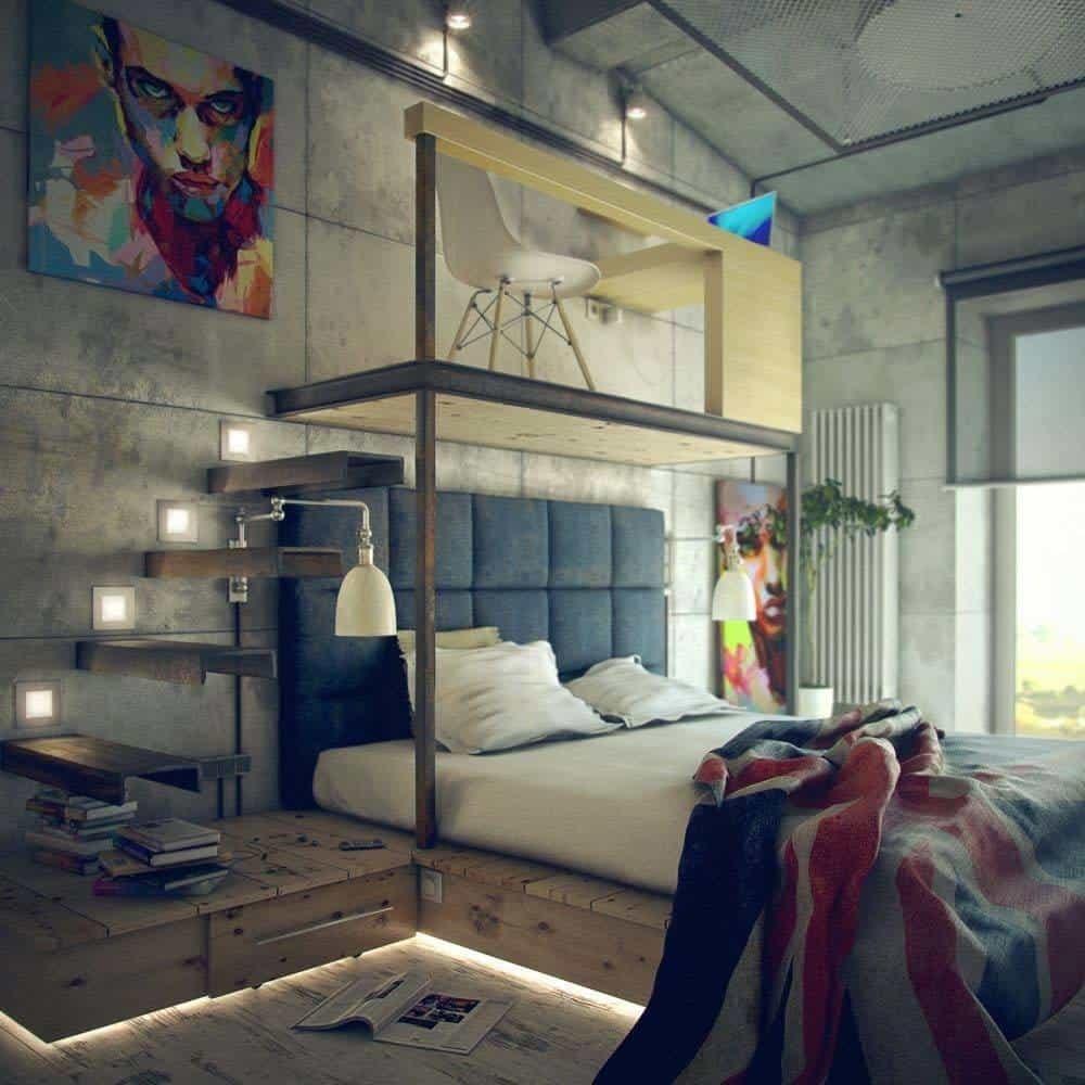 Badass industriële slaapkamer