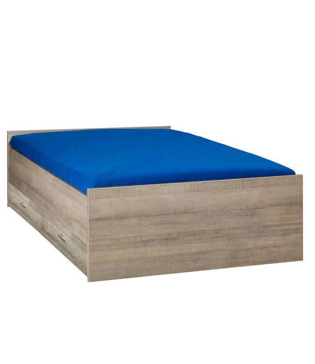 BEUK Bed met opbergruimte | 120x200 | Donkergrijs Hout | Inclusief donkergrijze houten lade (196x83CM)