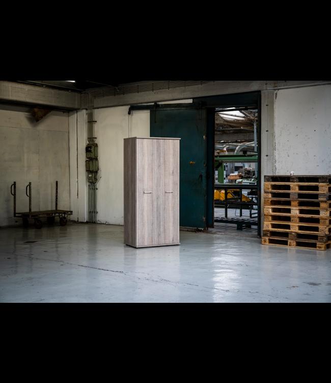 BEUK Kledingkast 2 Deurs - 180 x 54 x 42cm - Donker Grijs Hout - Bavel