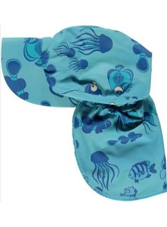 Smafolk Swimwear, Sun cap. Fishes Air Blue