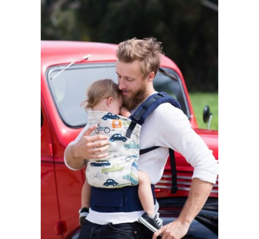 Carrier Tula Slow Ride, sturdy carrier with cars print.