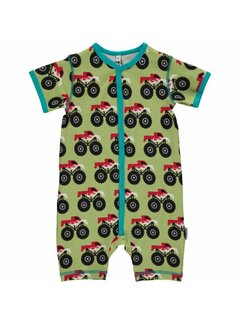 Maxomorra Rompersuit Button SS MONSTER TRUCK