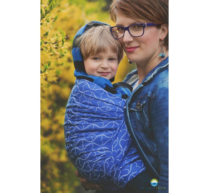 Little Frog Blue Hourglasses  woven wrap.