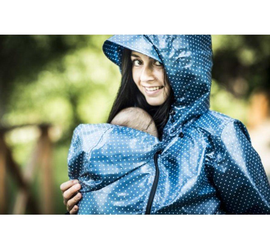 Angel Wings Polka dot raincoat blue for usage during babywearing.
