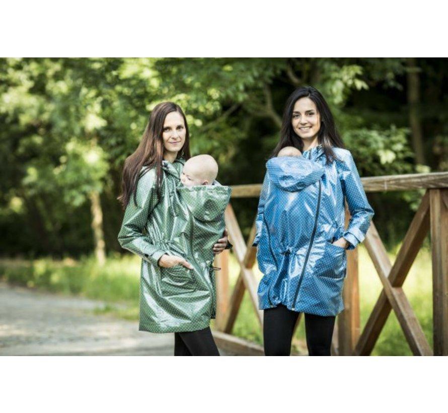 Angel Wings Polka dot raincoat green regenjas voor tijdens het babydragen.