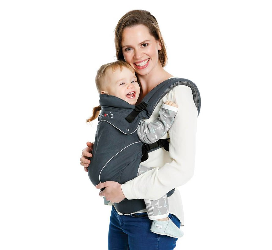 Babylonia Flexia deep gray baby carrier.