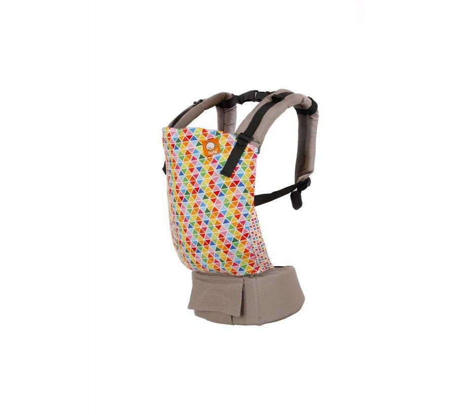 Tula Confetti Pop, draagzak met geometrische kleurrijke print op lichtgrijze basis.