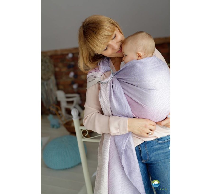 Ringling Little Frog linen lilac Cube ring sling.