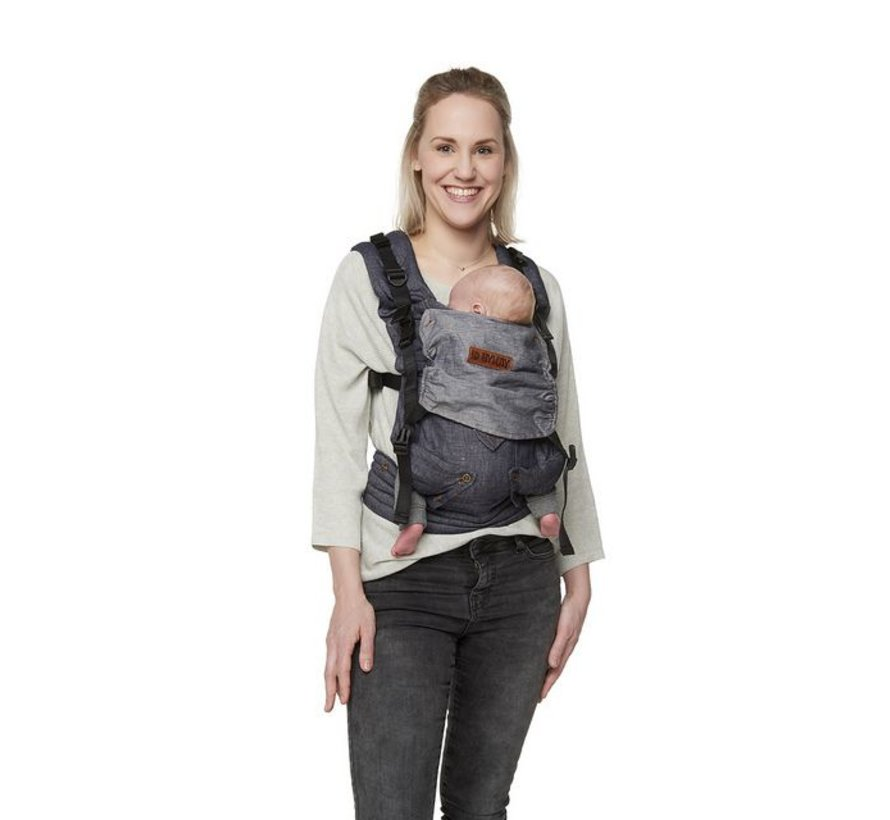 ByKay 4 way click carrier dark jeans, denim baby carrier.