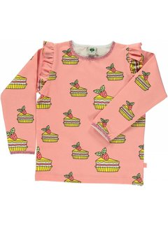Smafolk Smafolk T-shirt with cake and ruffles Coral