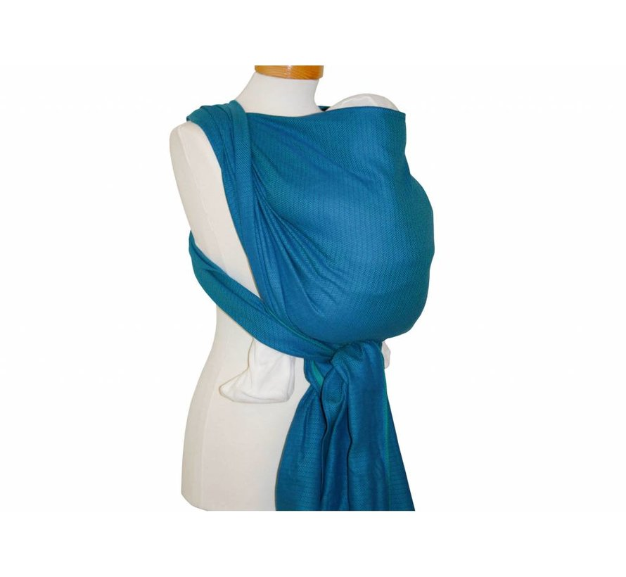 Woven wrap Storchenwiege Leo turquoise, 100% cotton woven wrap.