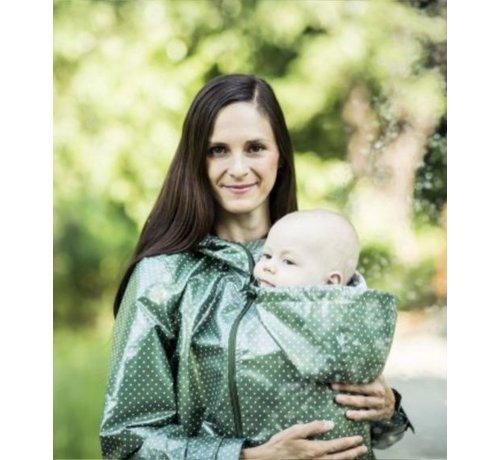 Angel Wings  Angel Wings Polka dot raincoat green regenjas voor tijdens het babydragen.