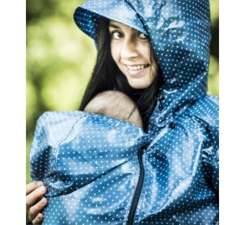 Angel Wings  Angel Wings Polka dot raincoat blue for usage during babywearing.