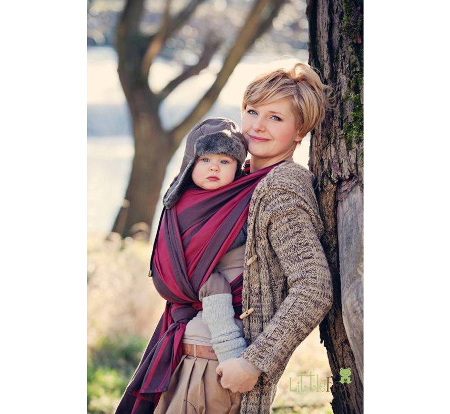 Draagdoek Little Frog Brown Pyrope, rode geweven draagdoek voor het dragen van uw baby.