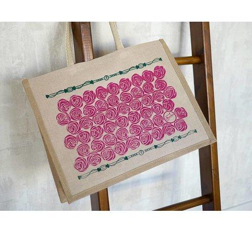 Oscha Oscha Eco Bag Roses Tourmaline, tas met rozen print.
