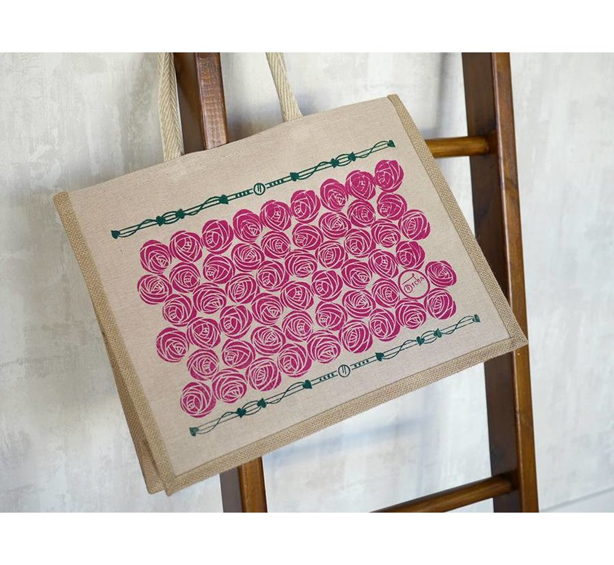 Oscha Eco Bag Roses Tourmaline, tas met rozen print.