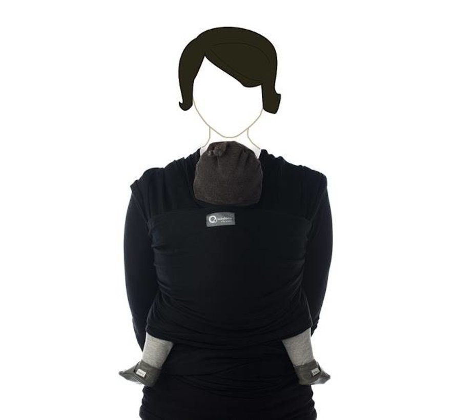 Tricot Slen black zwart, rekbare draagdoek.