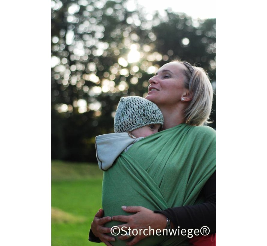Woven wrap Storchenwiege Leo green, 100% cotton woven wrap.