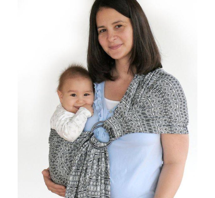 Didymos Prima black white, ring sling.