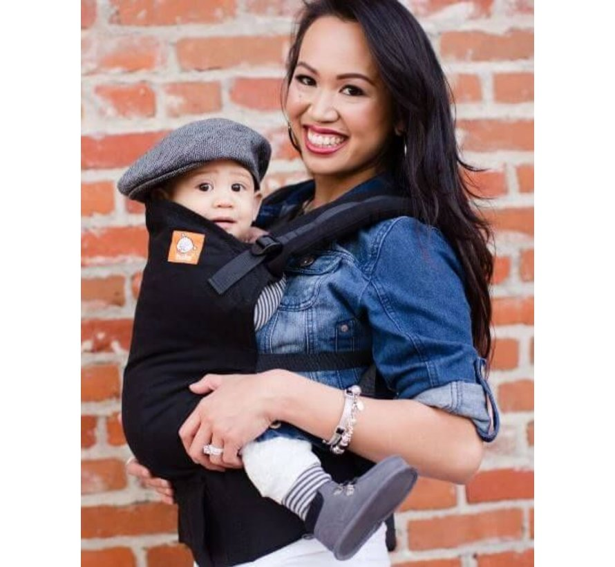 Carrier Tula Urbanista wear plain black baby carrier for babies and toddlers.