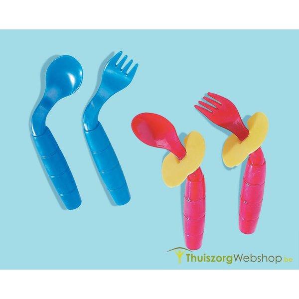 Gebogen kinderbestek Easi Eaters (lepel+vork)