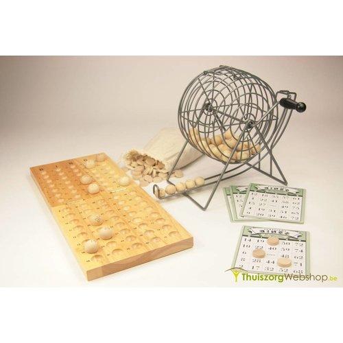 Bingo-set: molen, kaarten, houten balletjes en spelbord volledige set