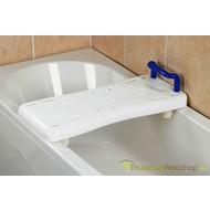 Instelbare badplank met blauwe handgreep