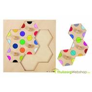 Honingraat inlegpuzzel met gekleurde cirkels