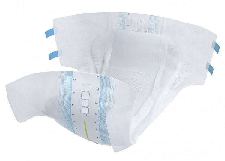 Disposable briefs with adhesive strip