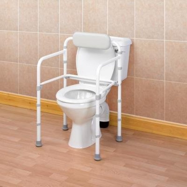 Toiletkader met rugleuning Uniframe, opvouwbaar